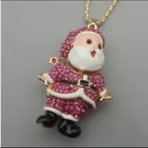 Betsey Johnson Necklace Pink Crystal Santa Claus